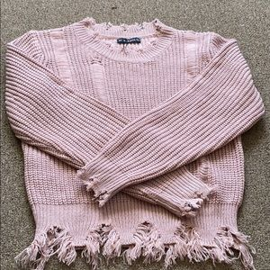 Destructed boxy pink sweater — NWT !